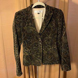 Brown Paisley Corduroy Tahari Blazer Size 4